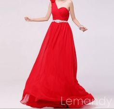 red one shoulder A line beaded waist chiffon evening dress. $185.00, via Etsy.