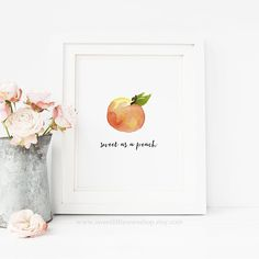 bedroom peach Sweet As A Peach Watercolor Kitchen Printable Wall Art Watercolor Fruit Print Peach Print Kitchen Printable Kitchen Decor Sweet Peach Print Joanna Gaines, Kitchen Wall Art, Kitchen Decor, Peach Decor, Peach Bathroom, Youre A Peach, Peach Walls, Watercolor Fruit, Watercolour