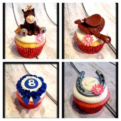 Horse Themed Cupcakes - mayhaps I shall make some ribbon cupcakes for my teammates at our Finale show?