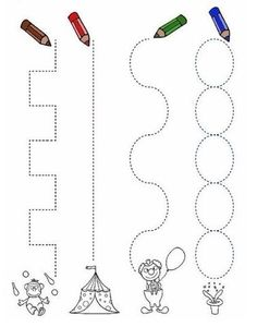 chemins du cirque Good for tracing with a circus theme.Good for tracing with a circus theme. Preschool Circus, Circus Crafts, Preschool Writing, Preschool Lessons, Writing Activities, Toddler Learning Activities, Preschool Activities, Kids Learning, Tracing Worksheets