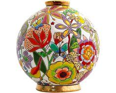 """Collection """"Flora"""" Nicolas de Wael pour Émaux de Longwy, boule midi (pm) Glass Ceramic, Ceramic Art, Mosaic Glass, Painted Shells, Painted Pots, Pottery Bowls, Ceramic Pottery, Jr Art, Truck Art"""