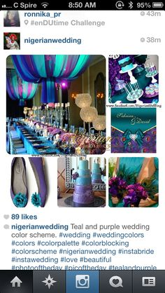 Purple and teal wedding