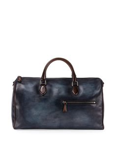 N3PQV Berluti Small Leather Duffle Bag, Indigo Denim