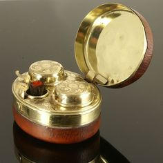 Fine Quality Antique Victorian Double Travelling Inkwell.