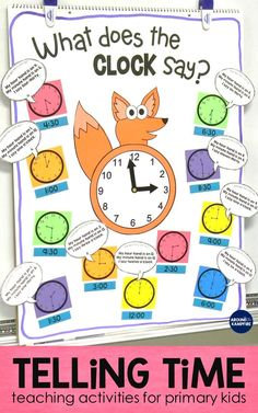 These first and second grade telling time activities are ideal for high engagement practice of reading and writing time to the hour, half  hour, quarter hour, and nearest 5 minutes. The anchor chart doubles as a game board for the lessons. The math/writing craft can be used as a practice clock. The student booklets and partner games make perfect 1st and 2nd grade math centers. Also includes lots of fun teaching ideas that your kids will love!