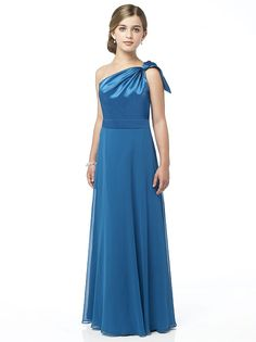 One shoulder matte satin and lux chiffon full length dress with draped bodice and full skirt. Coordinating dress available as style 2861.  http://www.dessy.com/dresses/junior-bridesmaid/jr514/