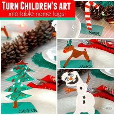 Turn Holiday crafts for kids into table name cards Family Tree For Kids, Christmas Art For Kids, Christmas Names, Holiday Crafts For Kids, Christmas Crafts For Kids, Homemade Christmas, Christmas Ideas, Christmas Activities For Families, Craft Activities For Kids