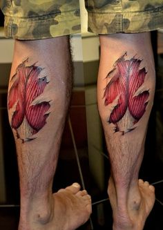Freehand Calf Muscle Skin Tear Tattoo - http://16tattoo.com/freehand-calf-muscle-skin-tear-tattoo-2/