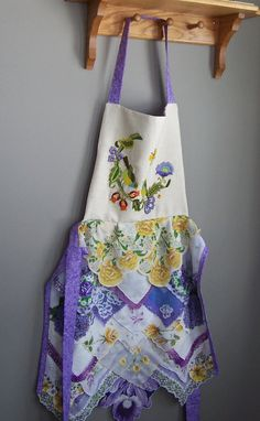 Apron Womens Hostess Gift Mother's Day Gift Family Dinner Vintage Hankies Purple…