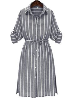 To find out about the Grey Slate Chemise Banded Lapel Vertical Stripe Split Shirt Dress at SHEIN, part of our latest Dresses ready to shop online today! Striped Shirt Dress, Long Sleeve Shirt Dress, Long Sleeve Shirts, Dress Long, Dress Shirt, Sleeve Dresses, Stripe Dress, Long Dresses, Gray Dress