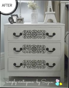 Chalk Paint Pure white & Graphics Fairy on dresser