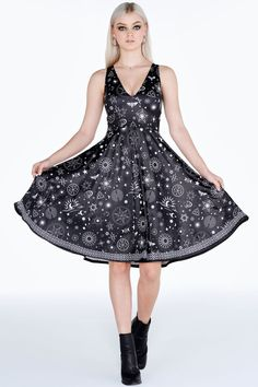 Put A Spell On You Midi Marilyn Dress – 7 DAY UNLIMITED ($130AUD) by BlackMilk Clothing
