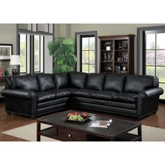 Crafted with modern designs in mind, this black bonded leather sectional features gorgeous rolled arms and an eye-catching nailhead trim to accentuate the dark upholstery. Plush and fitted cushions provide seating for up to five guests.