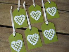 Set of 6 Sage Green with White Heart Gift Tags by SnowNoseCrafts, $3.75