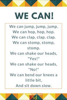 A perfect brain break for the classroom or storytime! Preschool Poems, Kindergarten Songs, Preschool Music, Kids Poems, Preschool Classroom, Preschool Learning, Preschool Activities, Nursery Songs, Nursery Rhymes