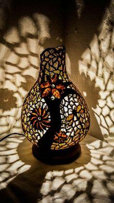 100% HANDMADE Gourd lamp art deco handcrafted by GOURDARTISTANBUL