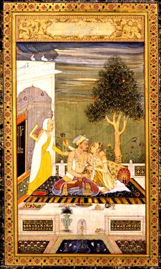 Jahangir with a Lady Indian Traditional Paintings, Sufi Saints, Indian Artwork, Mughal Paintings, Rain Art, London Art, Emperor, Hyderabad, Miniatures
