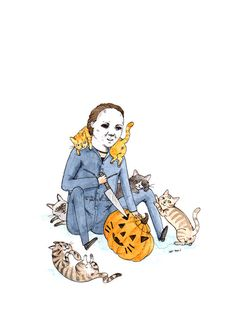 Meowloween  5x7 Michael Myers with Cats by StupidAnimalShop