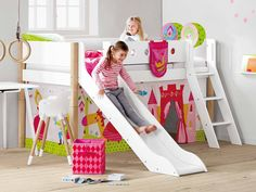 The half-height White bed by FLEXA offers children a practical option … Source by Girls Cabin Bed, Bunk Beds For Girls Room, Kid Beds, Kids Bed Design, Kids Bedroom Designs, Bunk Bed Designs, Bunk Bed With Slide, Bunk Beds Built In, Bunk Bed Decor