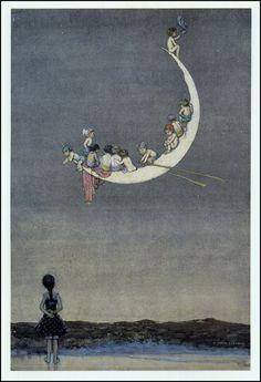 W Heath Robinson Moons First Voyage unpublished c+1916