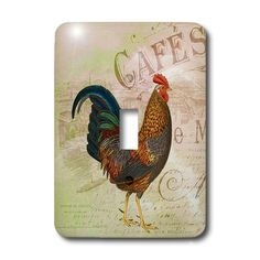 French Rooster Café vintage art - Light Switch Covers