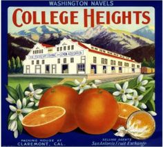 College Heights Vintage 1930s RARE Claremont California Orange Fruit Crate Label | eBay