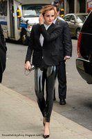 Emma Watson wearing Latex Leggings by Andylatex