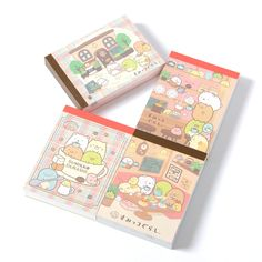 These **Sumikko Gurashi Cafe Sumikko Cloth-Bound Memo Pads** feature our corner-dwelling **Sumikko Gurashi** friends enjoying the café lifestyle! This memo pad is available in **four different designs**, one of which will be **selected at random** when you order. Each adorable **100-page** memo pad features **two page designs**, and is kept secure with a durable **PVC cover**. Experience a world of cuteness every time you jot something down!