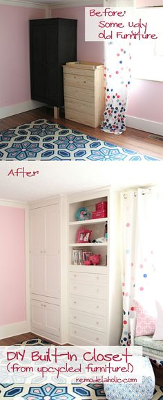 From old furniture to built in closet.  Check out the great tutorial /Remodelaholic/