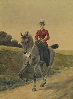 Charles Ferdinand de CONDAMY (1847- 1910) -   Cavalière;   Aquarelle Art Pictures, Equestrian Art, Vintage Art, Female Art, Art, Horse Painting, Horse Silhouette