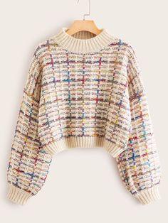 SweatyRocks Mock-neck Boucle Knit Sweater Women Crop Sweaters Bishop Sleeve Jumper Women Streetwear 2019 Autumn Casual Sweaters - multicolor,s Casual Sweaters, Cute Sweaters, Pullover Sweaters, Vintage Sweaters, Pink Sweater, Sweater Outfits, Cute Outfits, Bishop Sleeve, Sweater Making