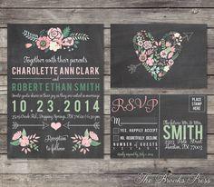Chalkboard Pastel Floral Wedding Invitation and RSVP Postcard - Custom Digital Printable Files on Etsy, $15.00