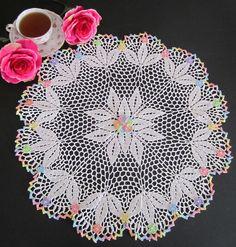 Rainbow lily crocheted doily
