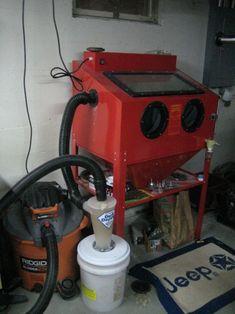 Sandblasting Cabinet dust collector with Dust Deputy & Shop Vac DIY http://www.powdercoatguide.com/2013/07/media-blasting-continued.html#.V9-SrK21iW9