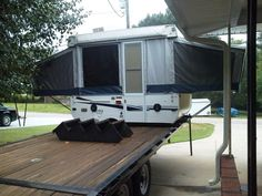 Homemade Toy Hauler Truck Bed Camping, Camping Set Up, Work Trailer, Utility Trailer, Truck Flatbeds, Trucks, Utv Trailers, Outback Campers, Toy Hauler Camper