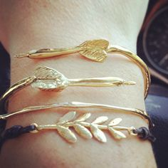 Dart, olive Branch and Twig Bracelets by Louisa Guild Jewelry