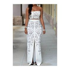 Rotita Rhinestone Decorated Front Slit Two Piece Dresses ($33) ❤ liked on Polyvore featuring dresses, white, white sleeveless dress, sleeveless sheath dress, print maxi dress, two piece dresses and sleeveless maxi dress