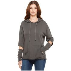 LNA Axel Hoodie (Dark Grey) Women's Sweatshirt ($154) ❤ liked on Polyvore featuring tops, hoodies, cut out long sleeve top, sleeve hoodie, dark grey hoodie, kangaroo pocket hoodie and long sleeve tops