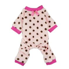 FurBaby Pink Cute Polka Dots Dog Coat for Pet Dog Pajamas Soft Winter Clothes, Medium - http://www.thepuppy.org/furbaby-pink-cute-polka-dots-dog-coat-for-pet-dog-pajamas-soft-winter-clothes-medium/