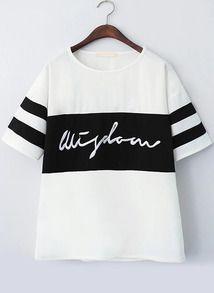 White Black Short Sleeve Striped Letters Print T-Shirt
