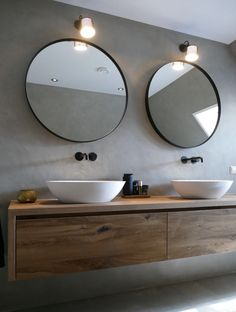 Small Bathroom, Master Bathroom, Wood Vanity, Farmhouse Bedroom Decor, Bathroom Interior Design, House Design, Double Sinks, Round Mirrors, Ideas