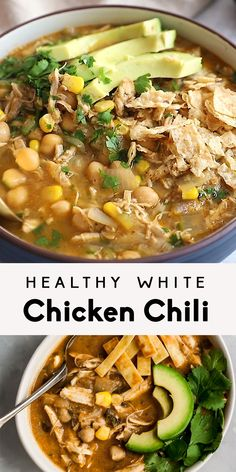 Healthy White Chicken Chili Healthy white chicken chili that's nice and creamy, yet there's no cream! Made with green chile, chicken, corn and blended chickpeas to make it thick and creamy. This easy white chicken chili recipe can even be made in the slow Crock Pot Recipes, Chili Recipes, Slow Cooker Recipes, Keto Recipes, Dessert Recipes, Fish Recipes, Healthy Slow Cooker, Crock Pot Soup, Avocado Recipes
