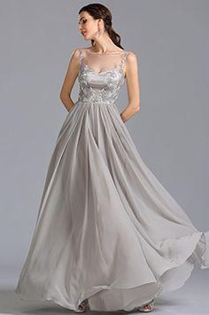 Элегантное Серое Вечернее Платье Без Рукава для Торжества(00153808)