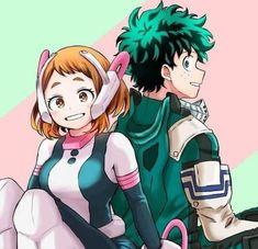 Boku No Hero Academia, My Hero Academia Memes, Hero Academia Characters, My Hero Academia Manga, Anime Characters, Anime Couples, Cute Couples, Asui Boku No Hero, Deku X Uraraka