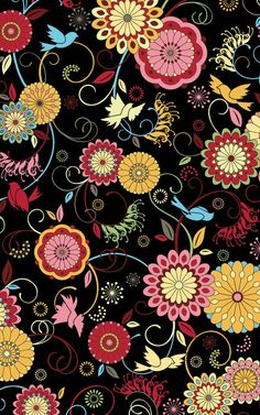 In The Beginning Fabrics- Musings- Flowers and Birds - by Jason Yenter. $8.25, via Etsy.