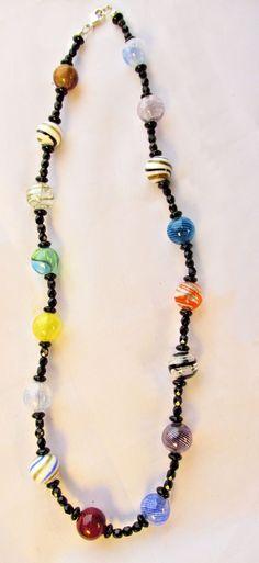 Venetian bead jewelry Blown glass bead necklace by UniquelyArdath, $32.00