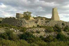 IBERIA. (Pre-Roman Spain) - Poblado ibero del castillo de San Pedro o Torreon de los Moros, Oliete, Teruel. Tiene una de las fortificaciones más imponentes de los poblados iberos. Fue construido en el siglo lll a. C. Y habitado hasta el l a.c.