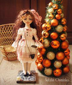 Купить Алиса. Текстильная подвижная кукла. Авторская кукла - бежевый, авторская кукла, коллекционная кукла