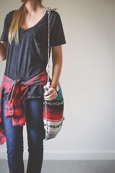 Shirt, sof flannel, jeans and cute bag