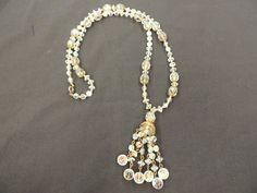 Vintage Goldtone AB Crystal Glass Beaded Pendant Tassel Necklace Wedding Runway #Unbranded #PendantNecklace